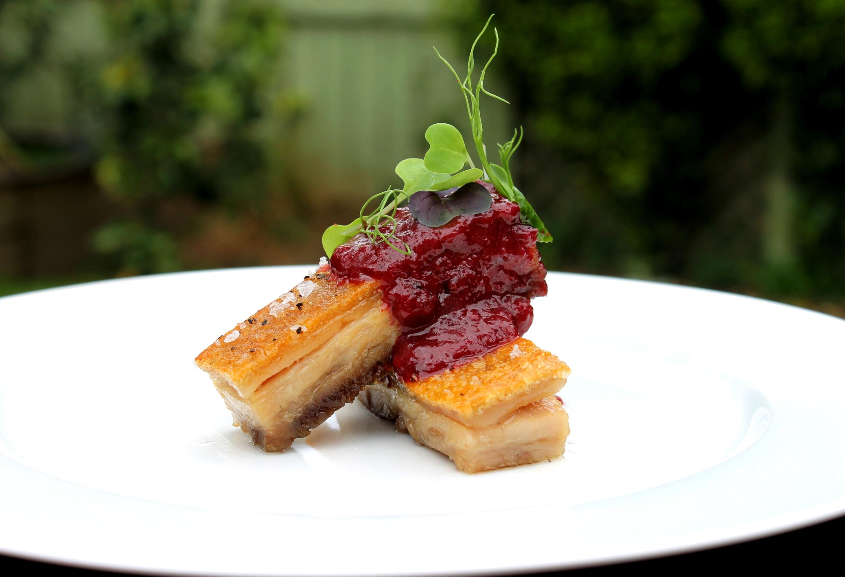 ChelseaWinter.co.nz Crispy confit pork belly with spiced Black Doris ...
