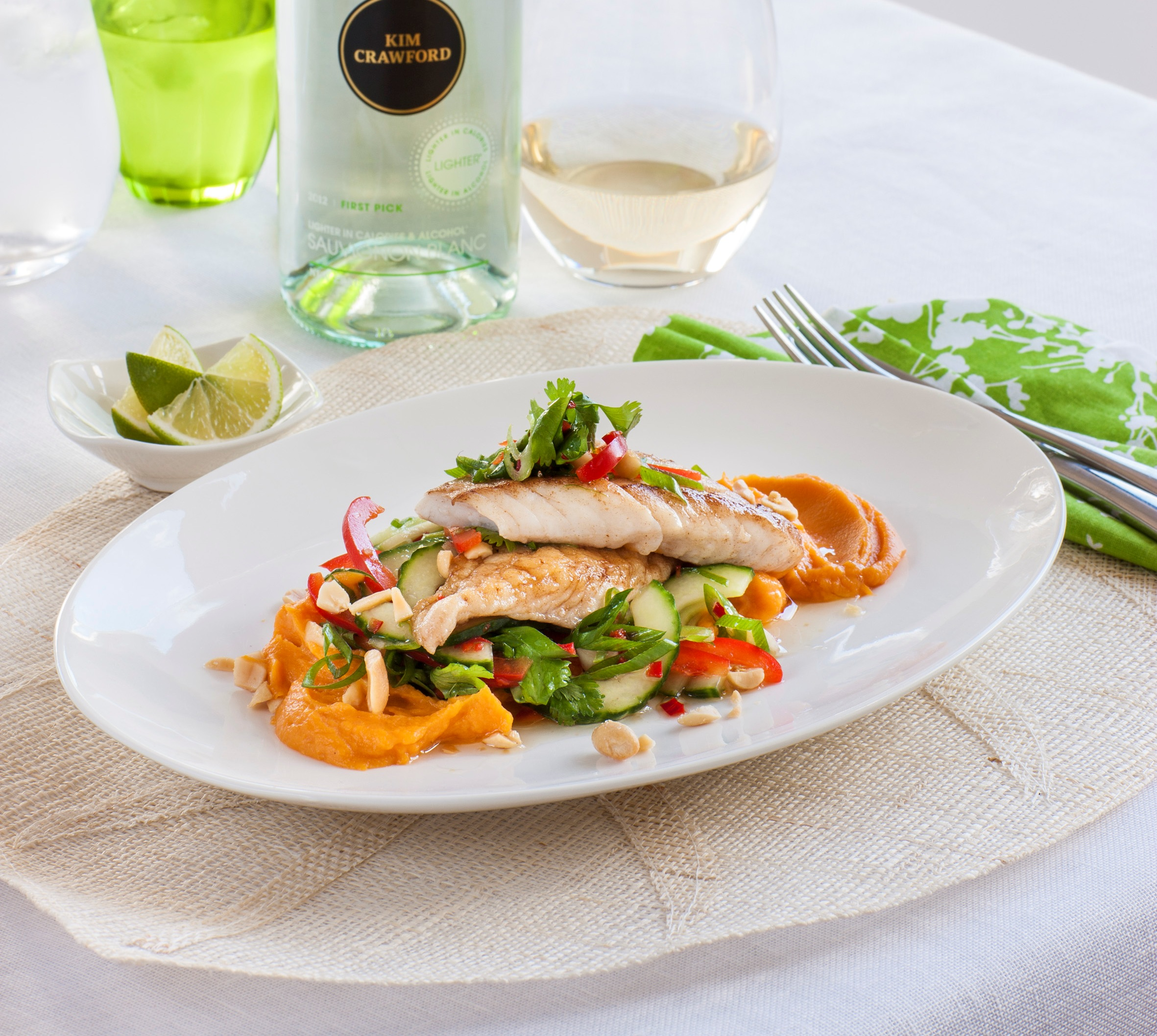 Chelseawinter pan fried snapper with kumara puree thai salad snapper with thai salad forumfinder Choice Image