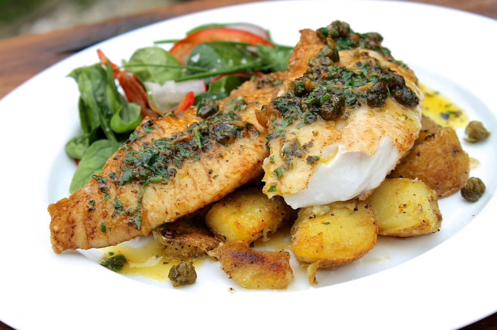 Fish with herb sauce
