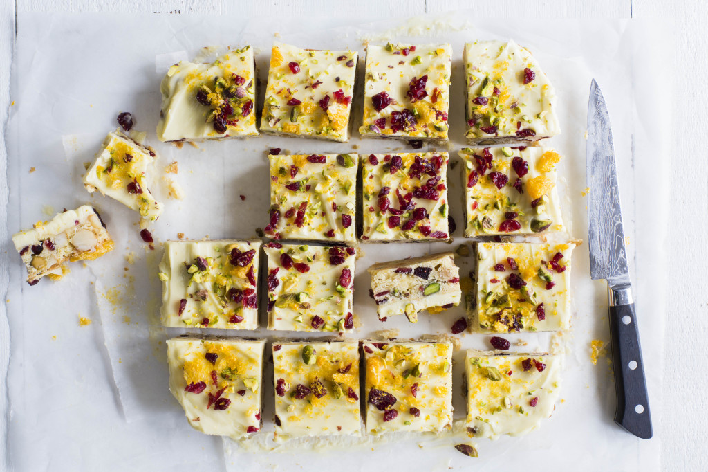 white chocolate & cranberry slice