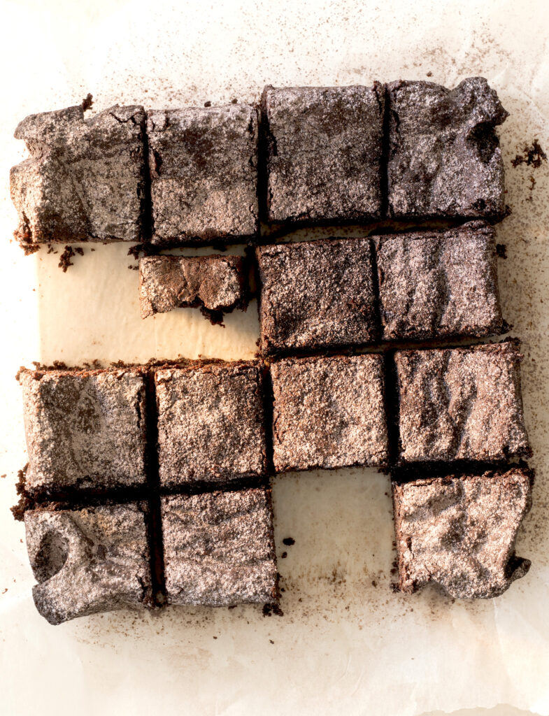 Delectable plant-based chocolate fudge brownie from Chelsea Winter's Supergood